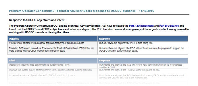 POC comments and feedback to USGBC Part A Enhancement and